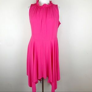 Eliza J Hot Pink Midi Handkerchief Hem Dress 18W